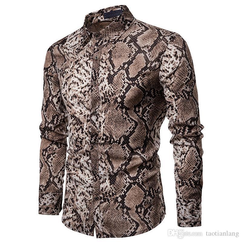 Seksi Yılan Desen Baskı Gömlek Erkekler 2019 Yepyeni Uzun Kollu Erkek Gömlekler Hip Hop Streetwear Rahat Gömlek Camisa Hombre J190798