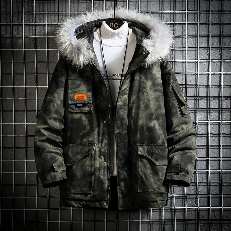 Outwear degli uomini di inverno con cappuccio in cotone Giacche collo di pelliccia Uomini Camouflage cappotto antivento S-5XL Grigio Verde
