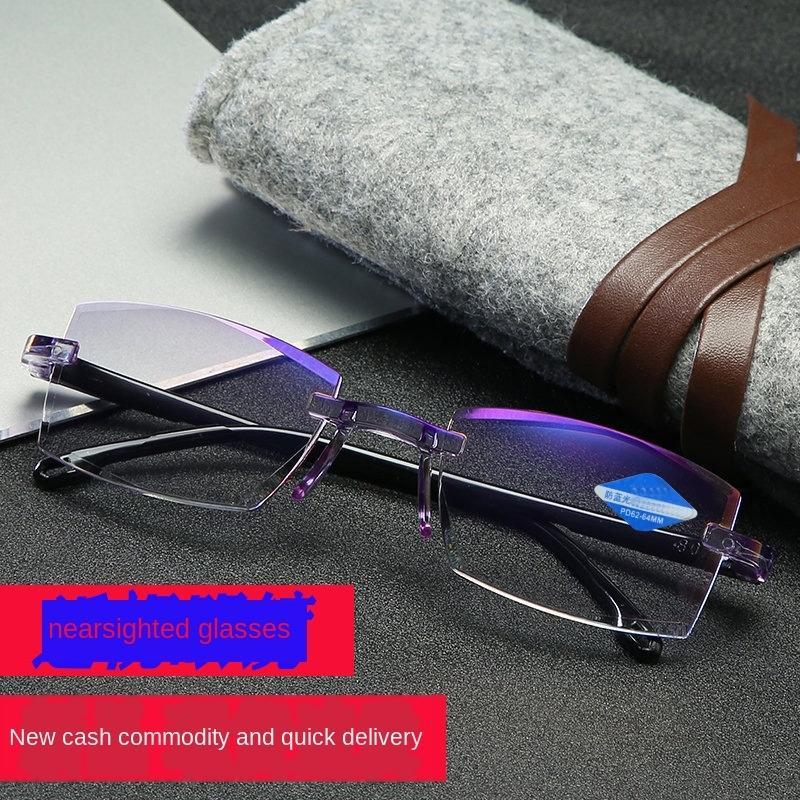 Frameless corte anti-azul claro miopia radiação óculos óculos de miopia feminino ultra-light olho-protecção estudantis