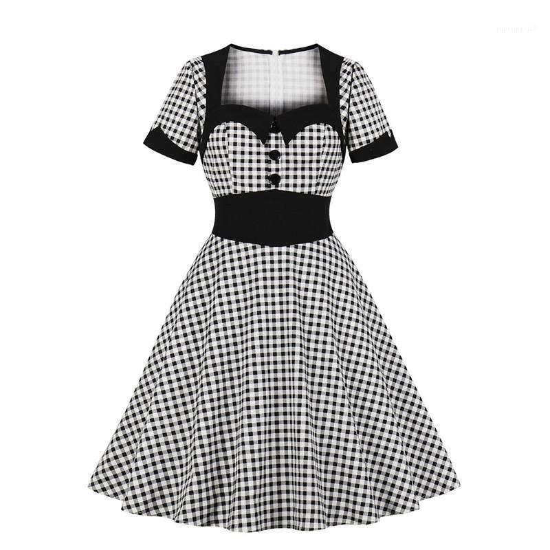 Vestido Vintage joelho Trellis Vestuário Feminino Plus Size Mulheres Designer vestidos de festa de cintura alta manga curta