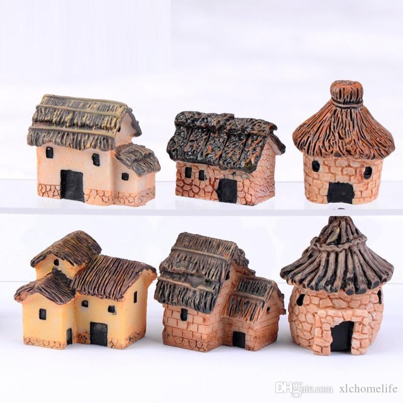 Симпатичные Смола ремесла Дом Fairy Garden Миниатюрные Гном Micro пейзаж Декор Бонсай для дома соломой дом дом смолы