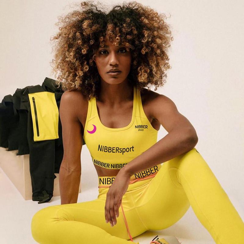 여성 의상 스키니 두 조각 세트 높은 탄성 피트니스 운동복 여성 문자 인쇄 활성 착용 슬림 레깅스 스포츠