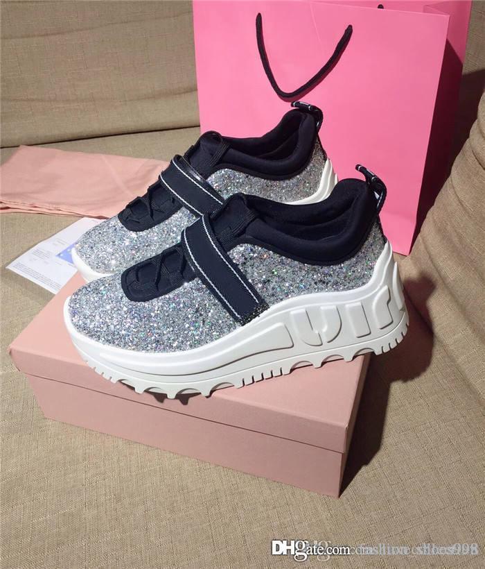 Donne Glitter Chunky Pantaloni Sneakers, Formatori classici con tono argento Lace Up oversize scarpa da tennis, Set completo di scatola di scarpe