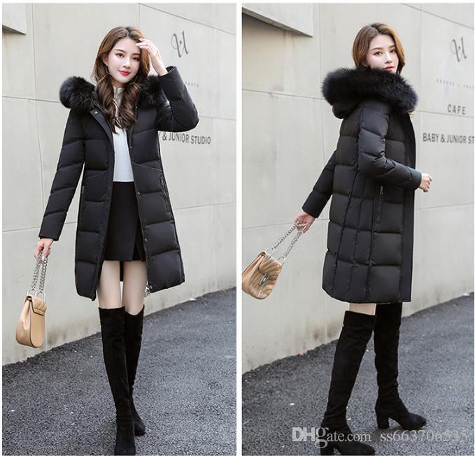 Jacket Mulheres Winter Ladies real Raccoon Fur Collar Duck Quente Brasão Down Inside Femme com todos os Tag Slim Fit Outdoor Parka