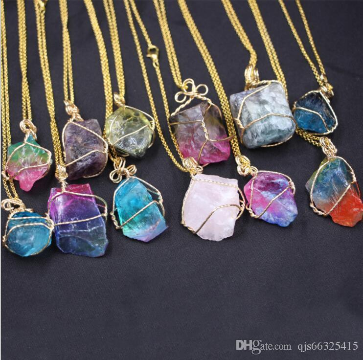 Women Unisex Irregular Necklace Natural Crystal Quartz Stone Gemstone Pendant