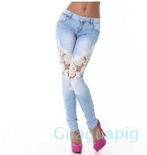 Piedi donne Vintage Denim sexy calda Openwork Lace Stitching Pantaloni Jeans Slim Donna più le donne pantaloni