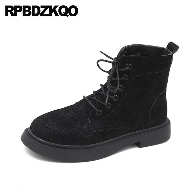 invierno corto bloque de la moda zapatos negros de combate de ante las mujeres de piel botines marrones 2.019 punta redonda espeso y abundante encaje hasta la nueva