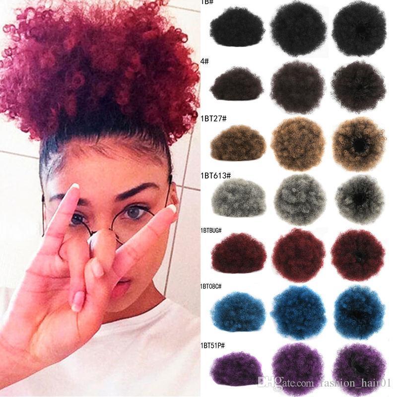 Горячий стиль афро слоеный короткий хвост кудрявый вьющиеся булочки дешевые волосы шиньон шиньон клип в пучок для чернокожих женщин