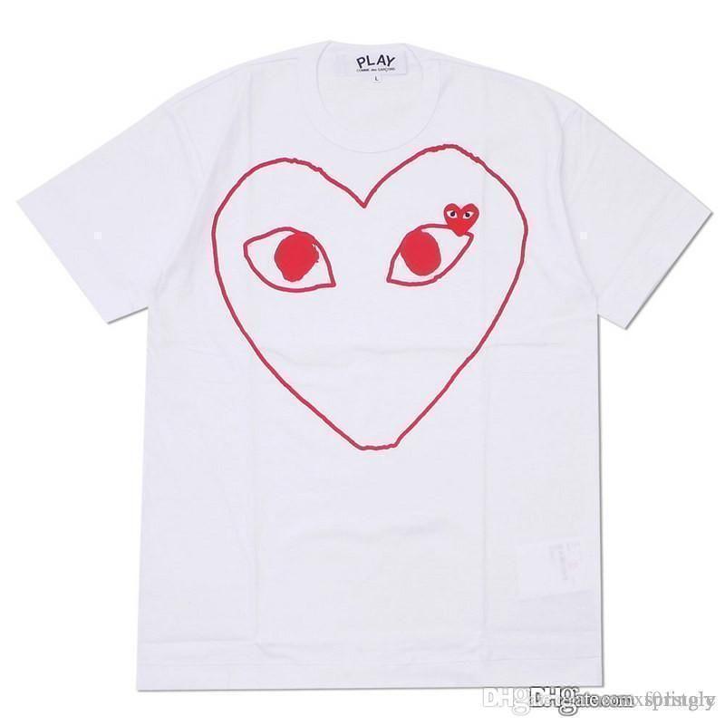 COM großhandel Neue Beste Qualität CDG DES Heißen Roten Augen URLAUBSPIEL GARCONS T-shirt Schwarz Rot Gestreift Polka Schwarz prompte Entscheidung