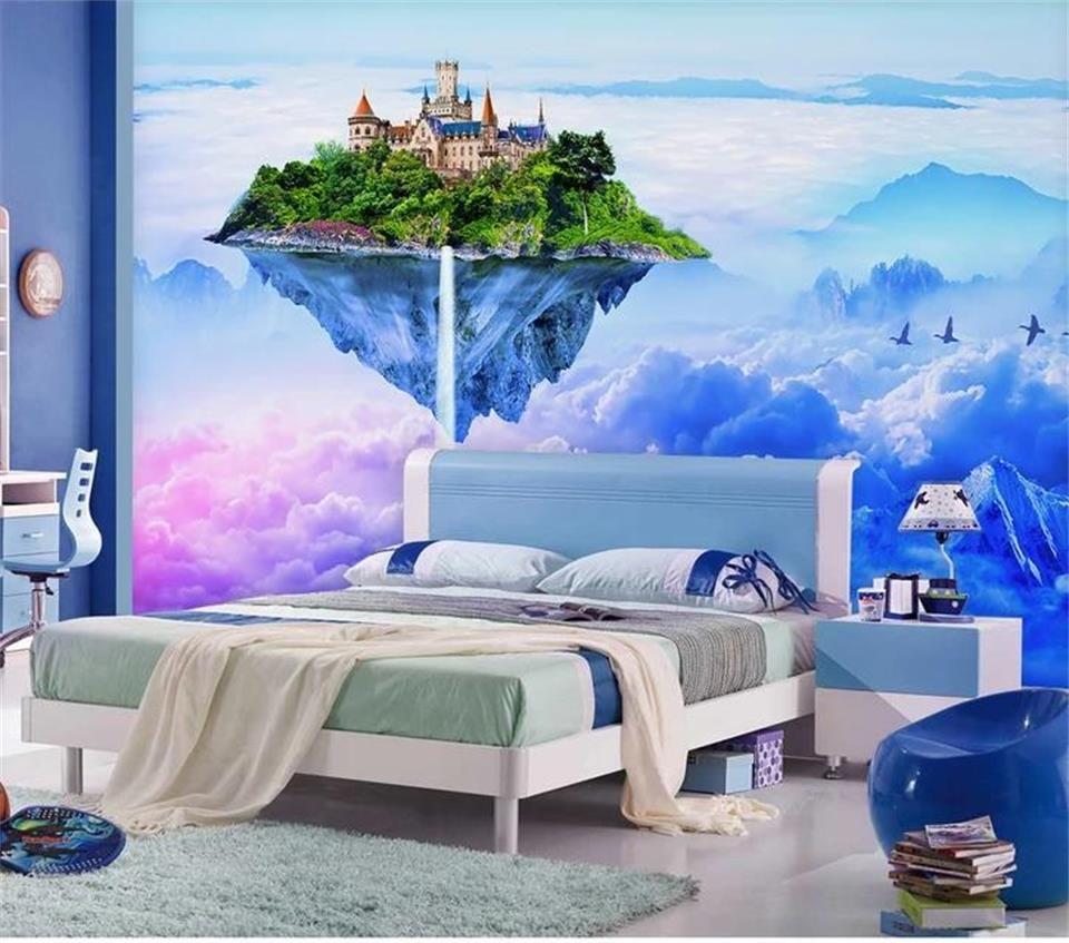 Özel boyut 3d fotoğraf duvar kağıdı oturma odası yatak odası duvar fantezi anten kale 3d resim kanepe TV zemin duvar kağıdı dokunmamış duvar sticker