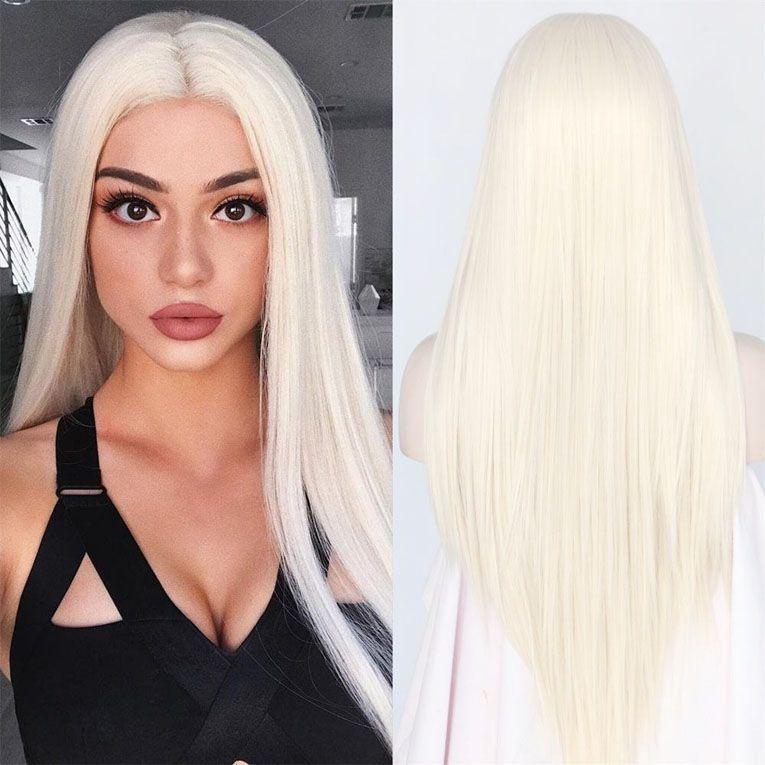 Ucuz İpeksi Düz Üst Kalite Beyaz 60 # Sentetik Dantel Açık Peruk Isıya Dayanıklı Uzun Saç Işık Blonde 0809 # Siyah İçin Kadınlar Cosplay Peruk