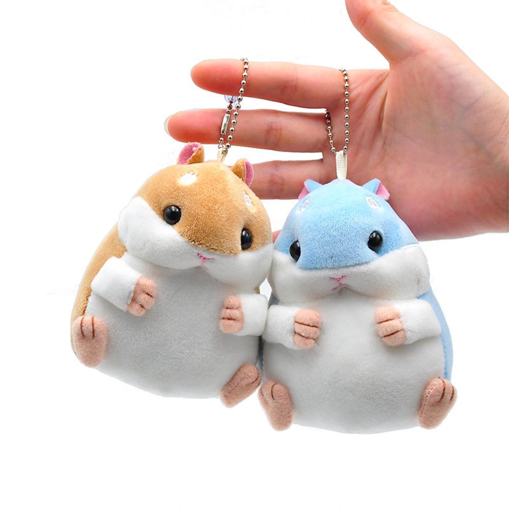 Baby Kids Soft Pom Plush Cartoon Animal Small Hamster Keychain Toy Doll Key Chain Stuffed Mouse Toy