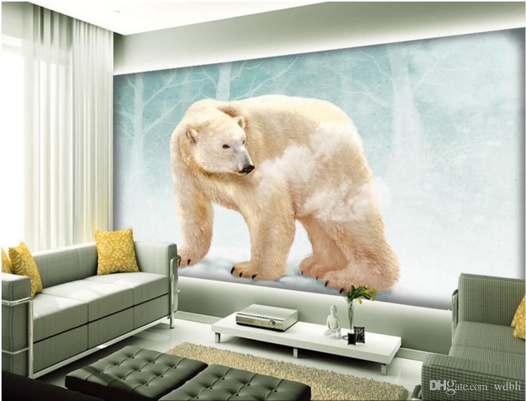 duvarlara 3 d için WDBH özel fotoğraf 3d duvar kağıdı Sevimli kutup ayısı hayvan tv arka plan oturma odası ev dekor 3d duvar resimleri duvar kağıdı