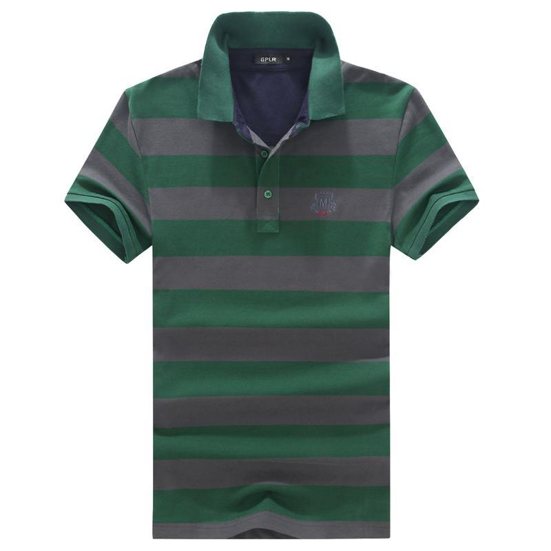 Solid Polo Shirt New Summer Short Sleeve Striped Polo Homme Slim Fit Turn Down Collar Men Polo Shirt Fitness Plus Size 6xl -M