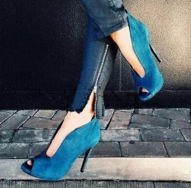 Azul ante atractivo del tobillo Bootie V profundo delantero Vamp Botas de tacón peep toe zapatos de las mujeres del recorte de la señora vestido mo zapatos