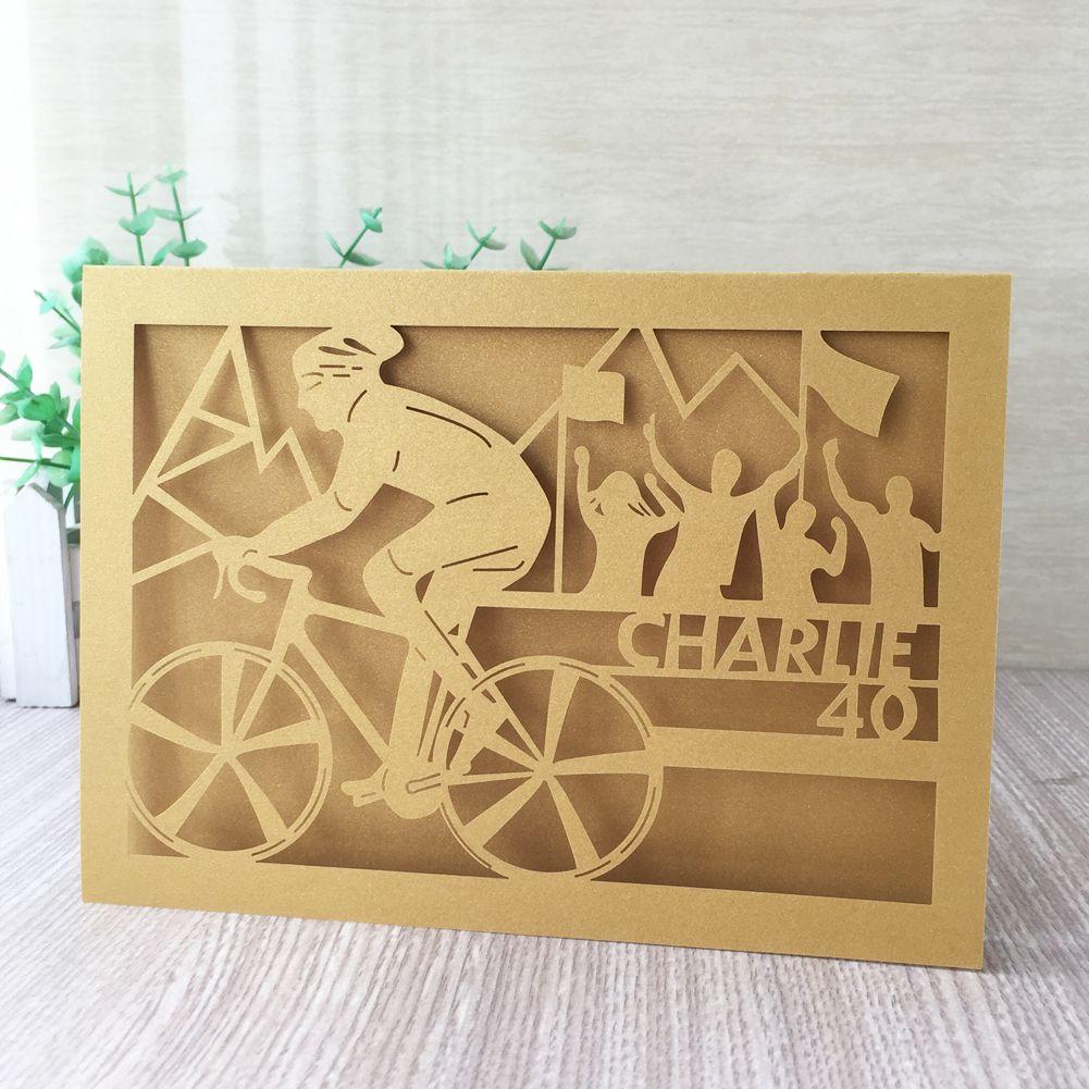 35PCS /lot Novel Envelope Wedding Invitation Cards On A Mountain Bike Birthday Party For 40 Custom Digital