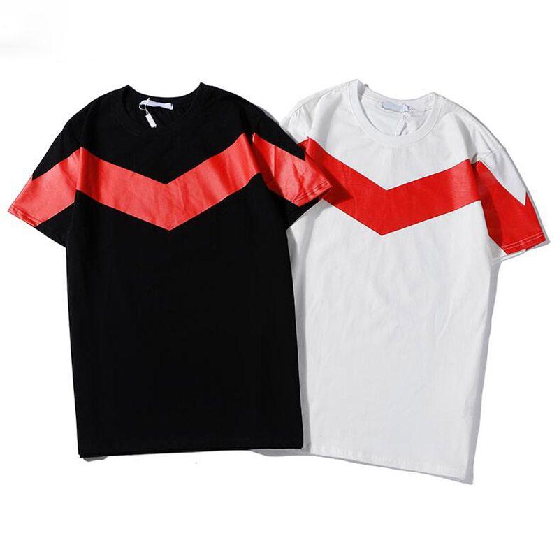 Hot Mens Design T Shirt Fashion Stripe Printing T Shirt Short Sleeves High Quality Men Women Hip Hop Tees