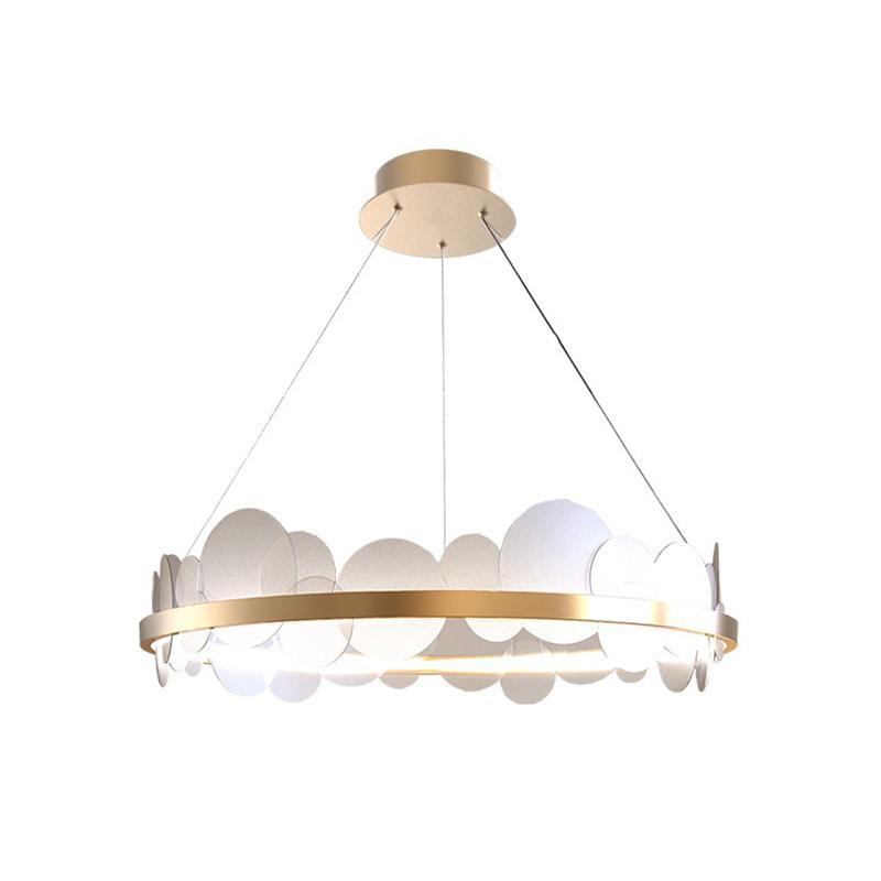Moderna rotonda Gold Metal acrilico LED Lampadari casa Mall Hotel Living Room Decor Pendant Light Fixture PA0631