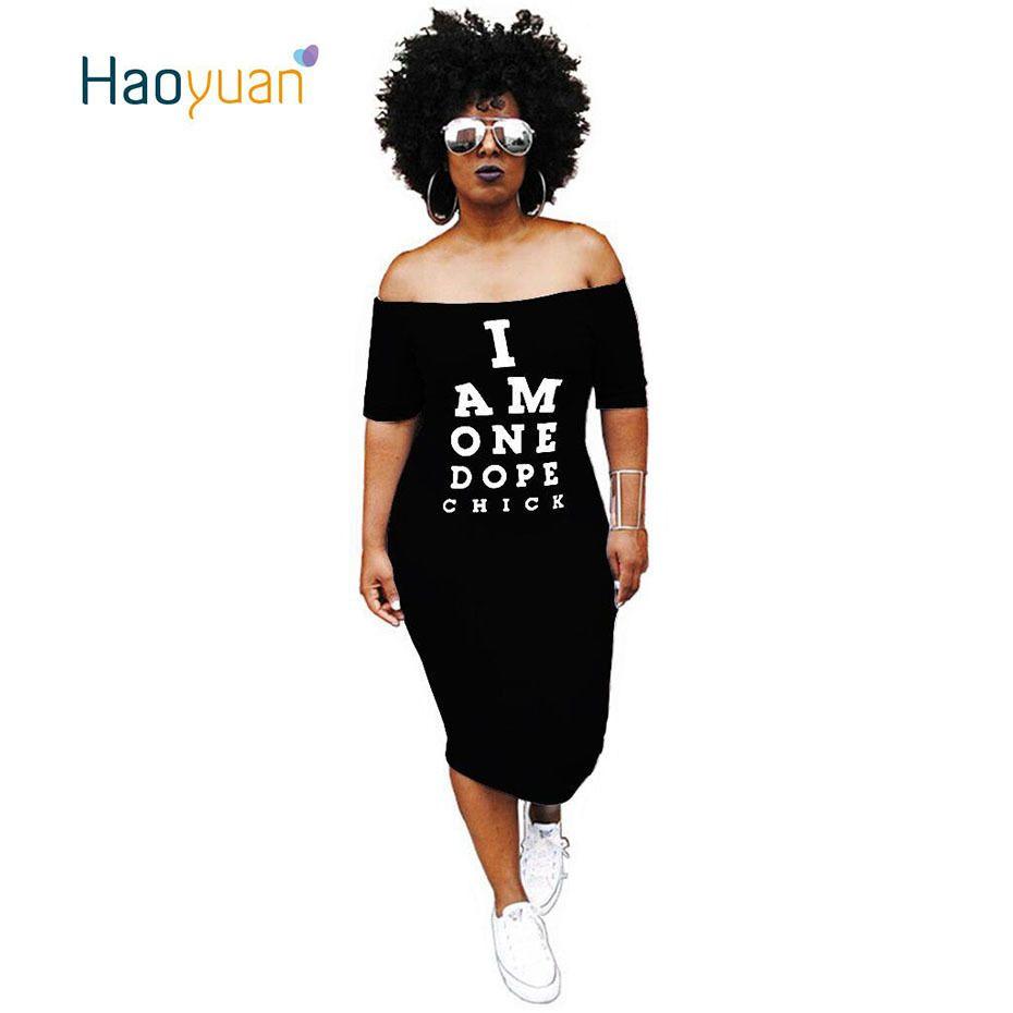HAOYUAN Plus Size Sexy Dress Autumn Off Shoulder Slash Neck Short Sleeve Bodycon Dress Casual Letter Printed Party Women Dresses T5190608