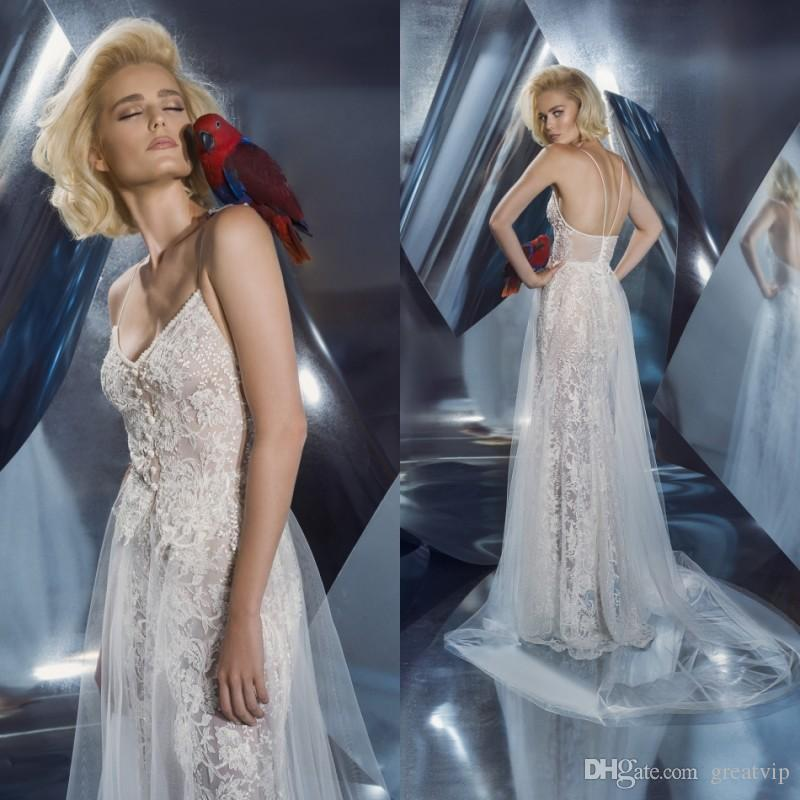 Dany Mizrachi 2019 Spaghetti Vestidos de novia Rebordear con cordones Tulle Bohemia Vestidos de novia Playa Tallas grandes robe de mariée