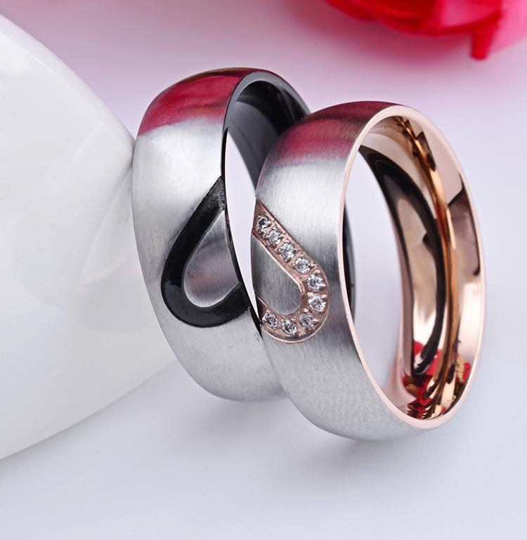 His & Hers Real Love Heart Promise couple Ring Titanium Steel Couples Wedding Engagement Bands Top Ring 6mm Rose gold and black color