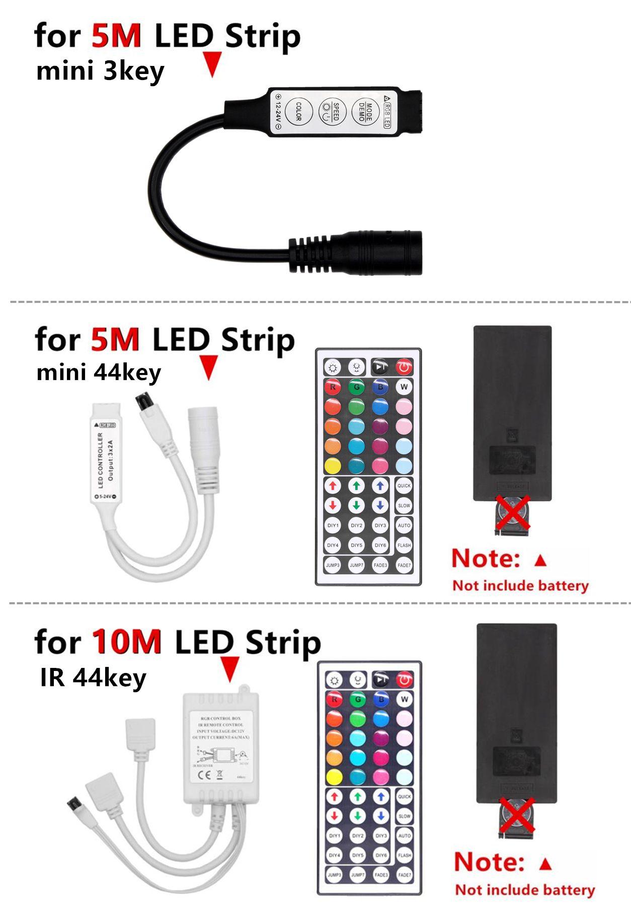 RGB LED Strip RVB 5050 SMD 2835 fita ruban flexible conduit bande RGB 5M 10M bande Diode 12V DC adaptateur de commande à distance
