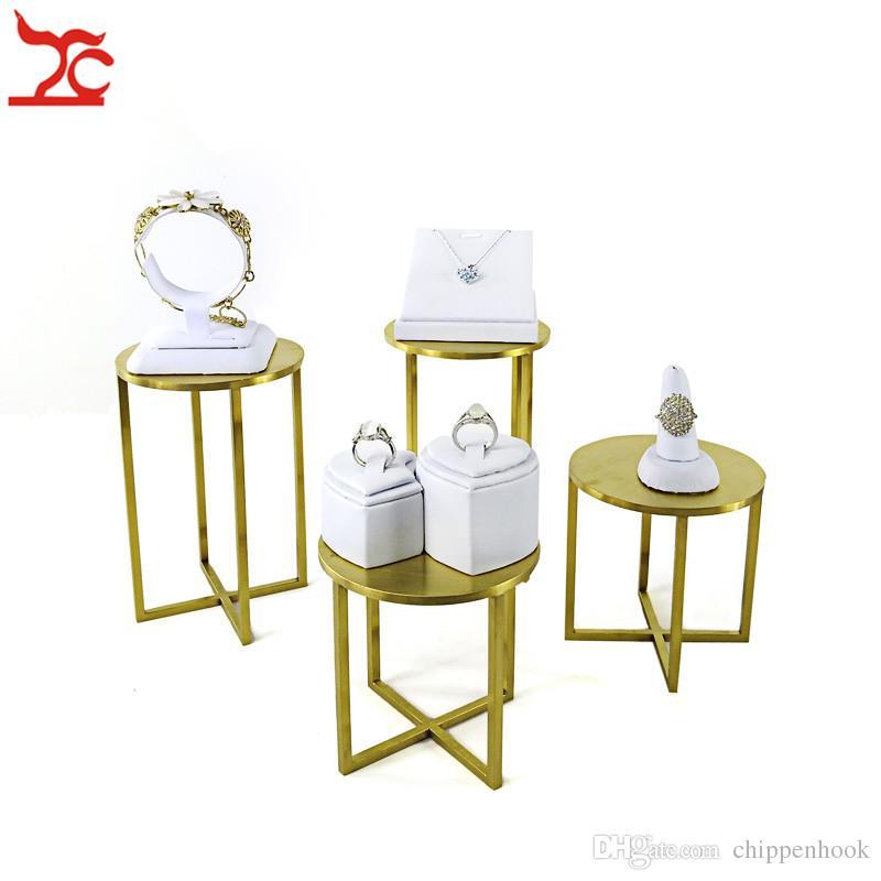 الذهب المقاوم للصدأ مجوهرات العداد نافذة عرض الرف المحمولة الأبيض بو الدائري قلادة الإسورة سوار القرط المنظم عرض موقف كيت