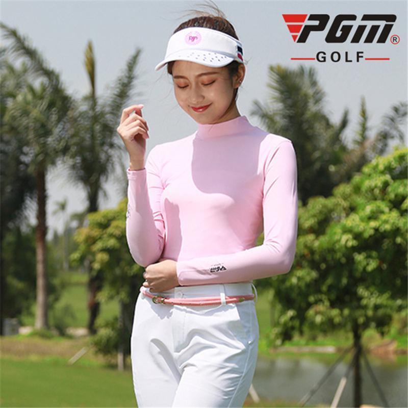 Pgm Femmes manches longues UV Protect T-shirts femme Sportwear Sous-vêtements Golf Shirt Femme Quick-Dry Vêtements de golf Hot Vente AA60444