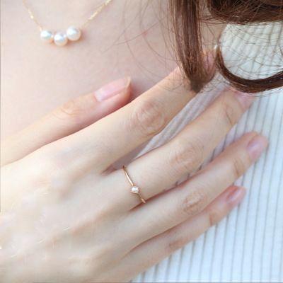 Bague pour les femmes Délicat Mini perle anneau mince Minimaliste style clair Couleur or jaune bijoux à la mode KBR010
