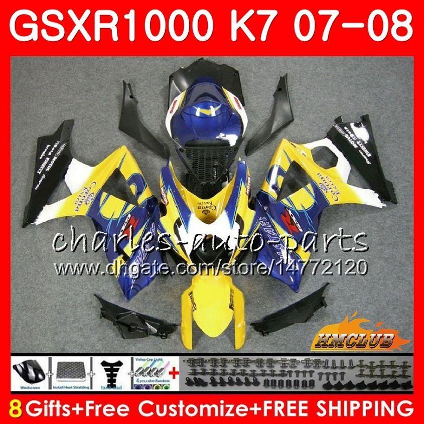 Suzuki GSXR-1000 Blue Sale Hot GSX-R1000 GSXR1000 07 08 Bodywork 12HC.22 GSX R1000 07 08 K7 GSXR 1000 2008 2008 완전 페어링 키트