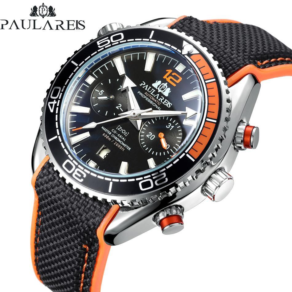 Gli uomini automatici vento di auto meccanico in gomma tela di James Bond 007 Data Style multifunzione Arancione Blu Mese Sport Watch CJ191213