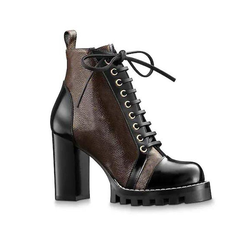 Lüks Bayan Tasarımcı Boots Baskı Martin Patik Platformu İş Boot Kar Boot Lady Kahverengi Siyah Beyaz Bilek Boots Kış Ayakkabı 2020 Yeni