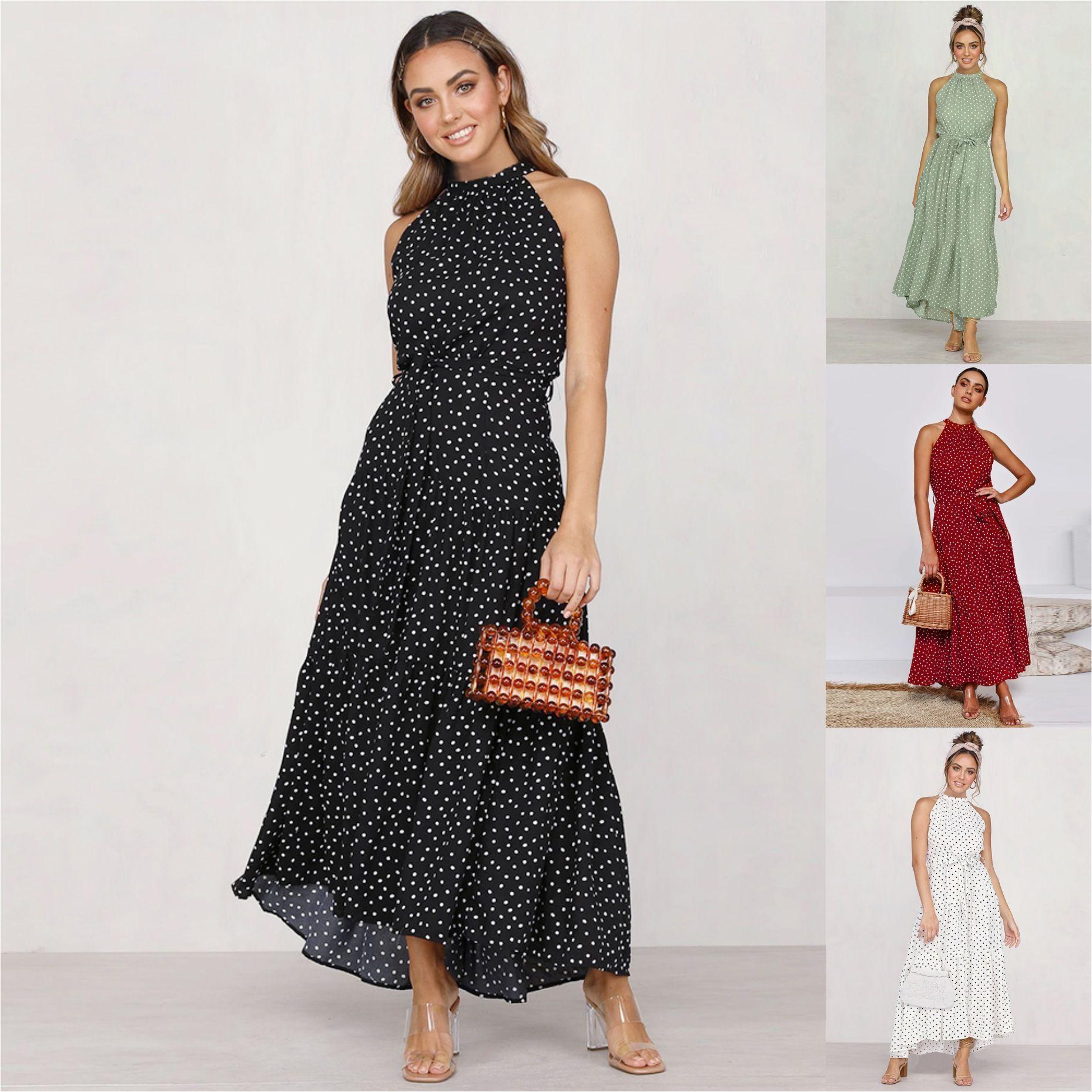 여름 우아한 섹시 비치 긴 드레스 여성 2020 패션 인쇄 꽃 폴카 도트 스트랩 여성 고삐 보헤미안 드레스 여성 vestidos
