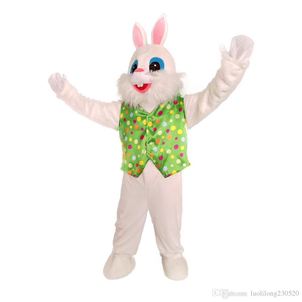 Gilet vert en peluche de Pâques Costumes Mascotte Lapin Lapin de Pâques Deluxe Hommes Costume