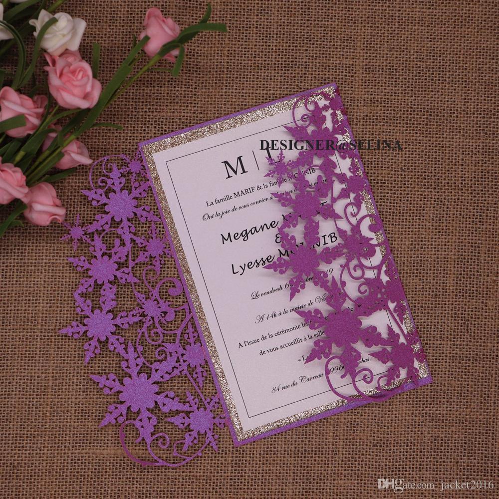 Laser Snowflake elegante Cut Convites para casamento convite Quinceanera inferior Engagement Purple Rose Gold Glitter com envelope