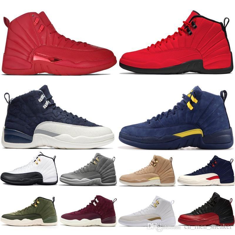 12 12s тренажерный зал red Bulls мужская баскетбольная обувь Michigan International Flight College Navy Flu Game Taxi темно-серые мужские спортивные кроссовки дизайнер