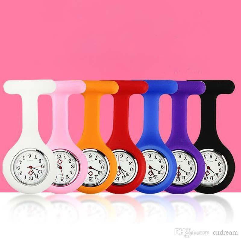 Candy Color Silicone Clip Nurse Doctor Pocket Watch Jelly Watch New Fashion Jewelry for Women Kids Gift Drop Shipping