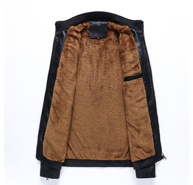 Brand New Herren Lederbekleidung Motorrad leathe dünne Jacke Mensentwerfer Jacken plus Samt warme Leder PU-Lederjacke
