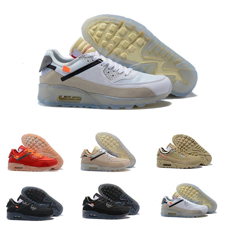 10X collaboration Ablohs OW 90 OG Université sneaker cône noir Ore rouge désert de glace translucide semelle extérieure Les chaussures de course Les dix entraîneur des hommes
