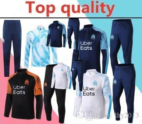 TOP quality 2019 marseille de foot CABELLA PAYET THAUVIN ANGUISSA long zipper jacket tracksuit 19 20 PAYET adult soccer Training suit
