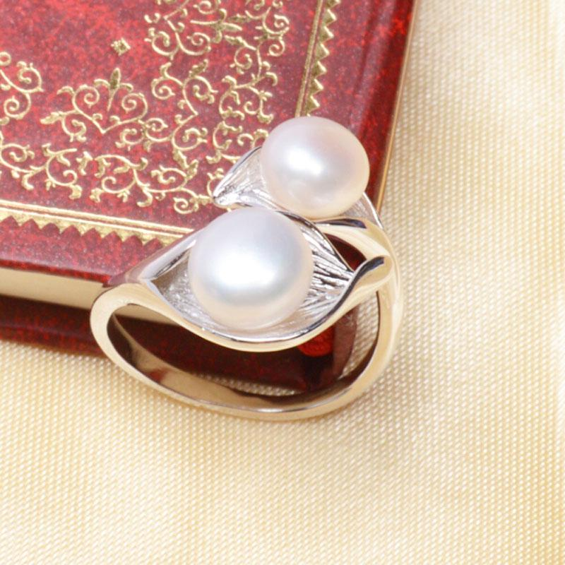 ASHIQI Natural Freshwater Double Pearl Ring for Women 925 Sterling Silver Jewelry Gift