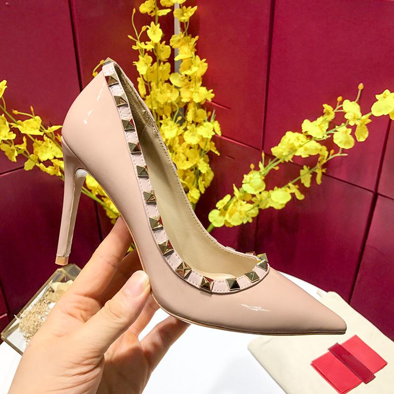 Hot Sale-classic black and Nude women Brand High Heels Patent Leather Pointy Toe Dress Shoes Shallow Mouth Red Sole Wedding Shoes 34-42