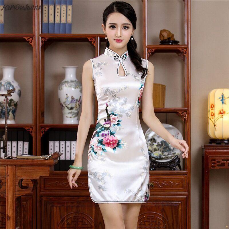 여름 화이트 미니 치파오 중국어 (번체) 능 직물 여자 스타일 레이온 드레스 우아한 슬림 Qipao 참신 Vestidos 디자이너 의류