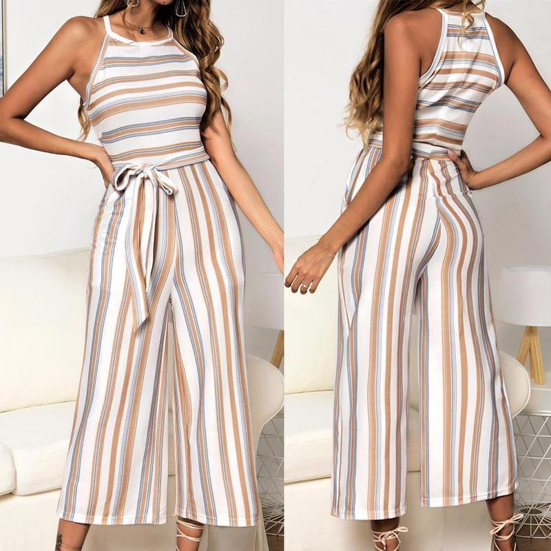 2020 Bodysuit Women Summer Sleeveless Long Jumpsuit Multicolor Striped Jumpsuit Loose Casual Fashion High Quality Rompers Pink