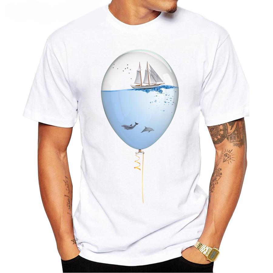 Ventas calientes del verano 2019 camiseta hombres Sealoon nueva moda mar en un globo camiseta impresa Tops divertidos de manga corta camisetas básicas