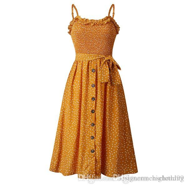 Polka Dot Ruffle Neck argent imprimé Mi-mollet Bouton moulantes Robes de fête Mode Jupe Casual Night Party Dress Vêtements
