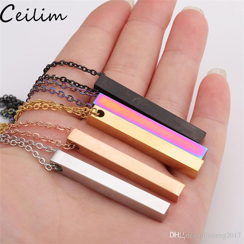 Polished Stainless Steel Bar Pendant Necklace New Fashion 5 Colors Rainbow Black Gold Solid Blank Bar Charm Pendant For Buyer Own Engraving