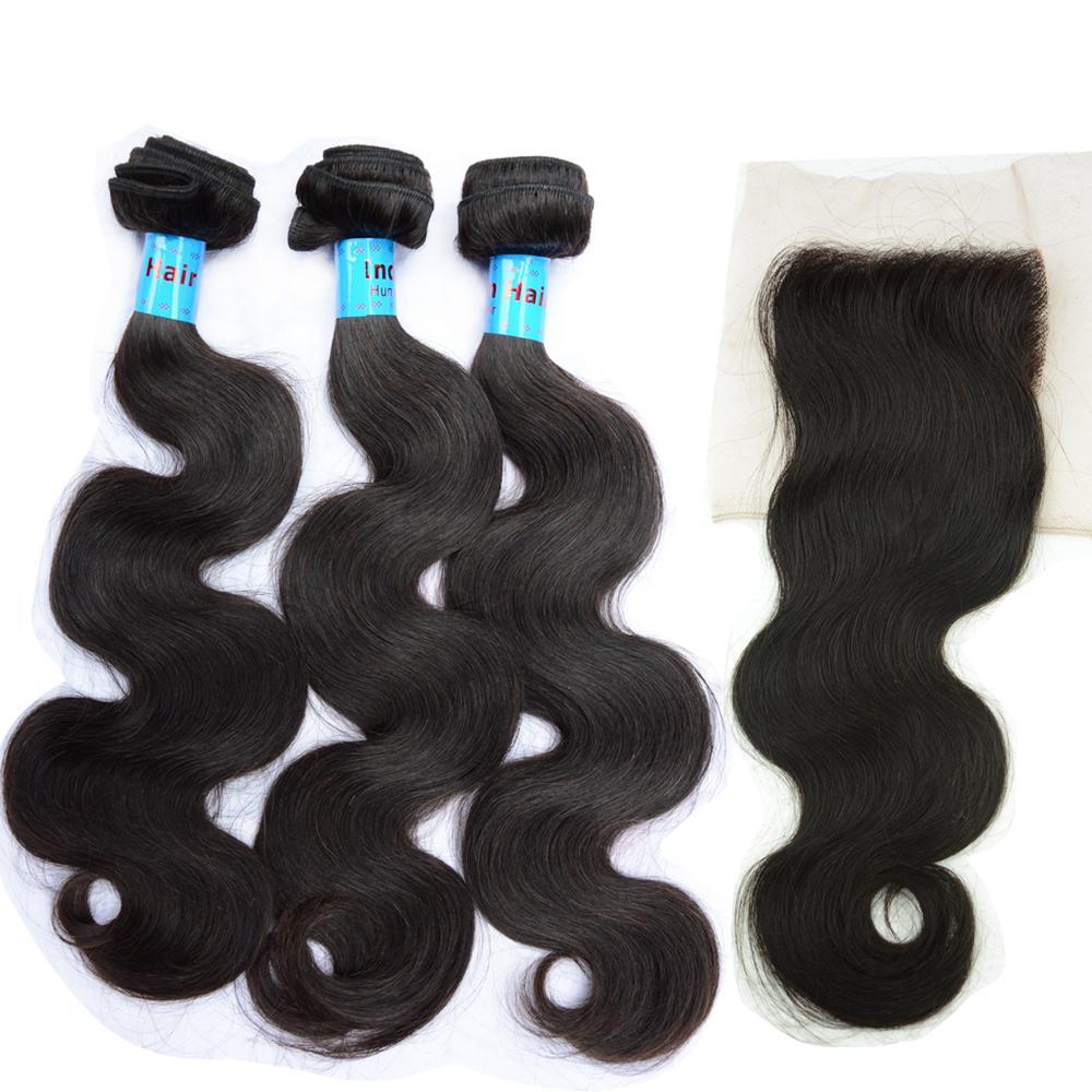 حزم العذراء الهندي الإنسان الشعر مع إغلاق الدانتيل dyeable غير المجهزة الجسم موجة منتجات الشعر 10a للنساء الإناث الطبيعية الأسود 8-30 بوصة