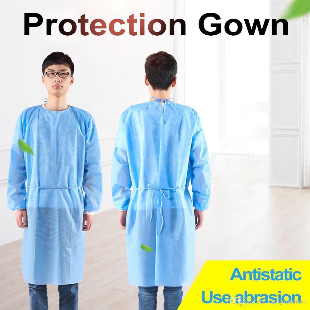 EU Stock descartável Proteção Vestido de não-tecidos isolamento protetor Roupas Para Casa Ciclismo Anti-fog Suit Anti-partículas