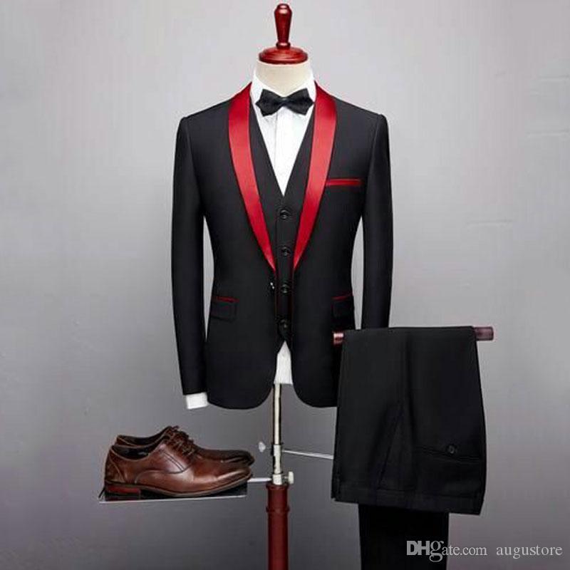 Black Men Suits For Wedding Groom Wear Man Outfit Custom Made Bridegroom Prom Slim Fit Formal Attire Best Man Blazer Man Jacket Pants+Vest